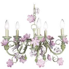 Pink Flowers with Green 5-Light Chandelier