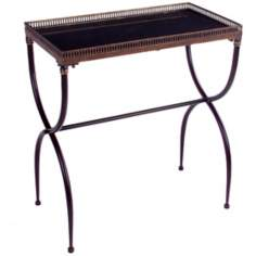 Black Finish Rectangular X-Leg Accent Table