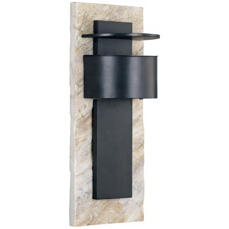"Pembrooke White Slate and Bronze 19"" High Outdoor Wall Light"