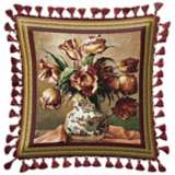 Tulips in Oriental Vase Accent Pillow