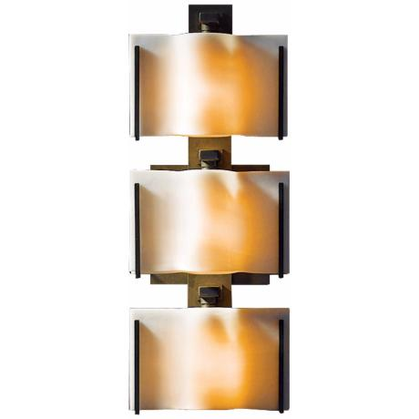 "Exos Wave White Glass 16 1/4"" High 2-Light Wall Sconce"
