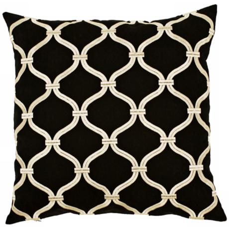"Surya Black and Gold 18"" Square Pillow"