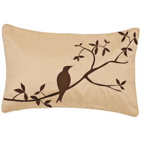 Surya Beige and Chocolate Bird  Pillow