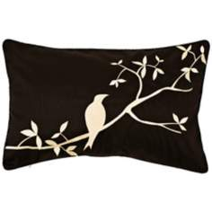 Surya Black and Beige Bird Lumbar Pillow