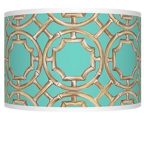 Teal Bamboo Trellis Giclee Shade 12x12x8.5 (Spider)