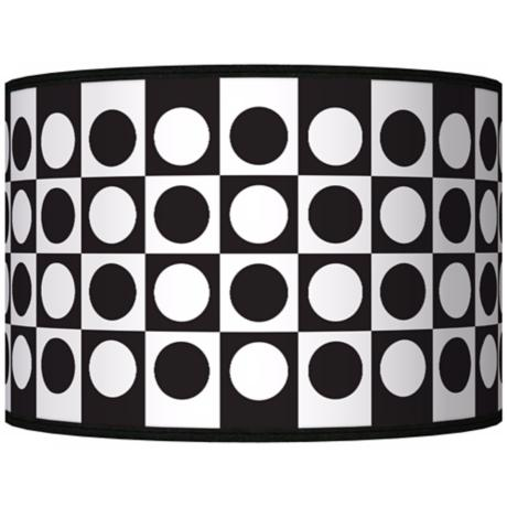 Black/White Dotted Square Giclee Shade 12x12x8.5 (Spider)