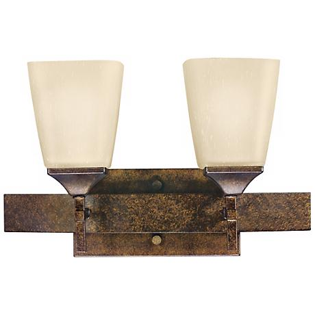 "Marbled Bronze Finish 2-Light 16"" Wide Bath Light"