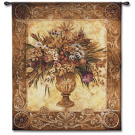 "Flower Bouquet Urn 53"" High Wall Tapestry"
