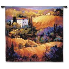 "Villa on the Hillside 53"" Square Wall Tapestry"