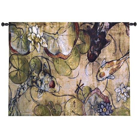 "A Koi Rendezvous 53"" Wide Wall Tapestry"