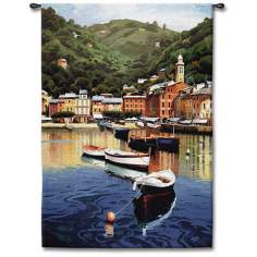 "Harbor at Twilight 53"" High Wall Tapestry"