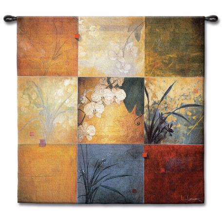 "Bamboo Orchids Patchwork 53"" Square Wall Tapestry"