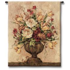 "Rosy II Urn 32"" High Wall Tapestry"