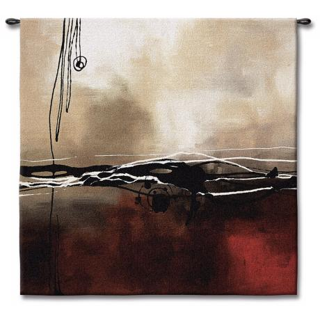 "Dreams in Claret and Black I 53"" Square Wall Tapestry"
