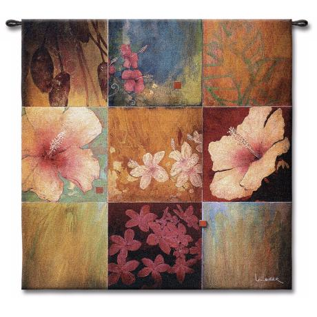 "Tropical Nine Patch 53"" Square Wall Hanging Tapestry"