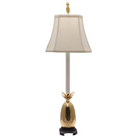 Tropical Brass White Shade Pineapple Buffet Table Lamp