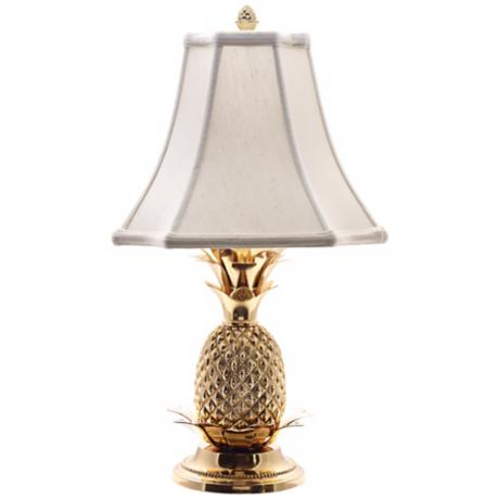tropical brass white shade pineapple table lamp j8860. Black Bedroom Furniture Sets. Home Design Ideas