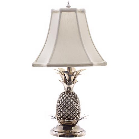 Tropical Pewter White Shade Pineapple Table Lamp