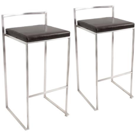 Set of Two Fuji Black Stacker Modern Bar Stools