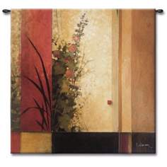 "The Hollyhock Garden Small 35"" Square Wall Tapestry"