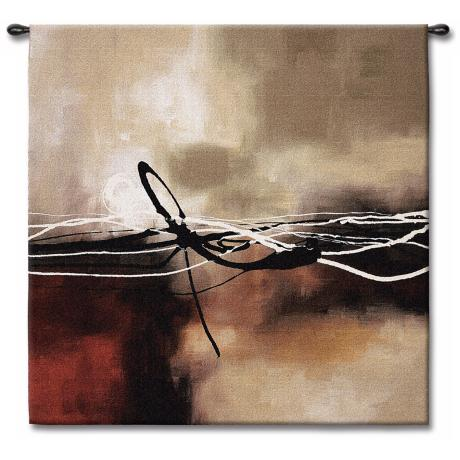 "Dreams in Claret and Black Small II 35"" Square Wall Tapestry"