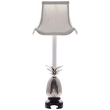 Pewter Pineapple White Shade Table Lamp