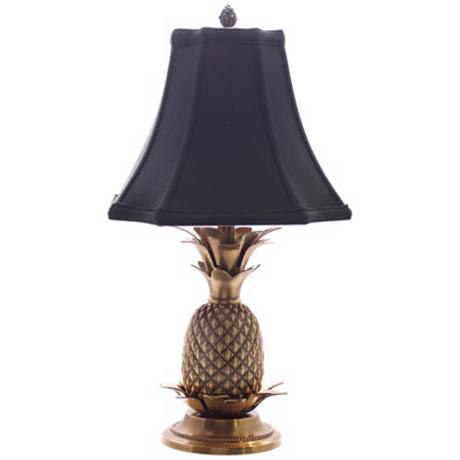 Antique Brass Black Shade Pineapple Table Lamp