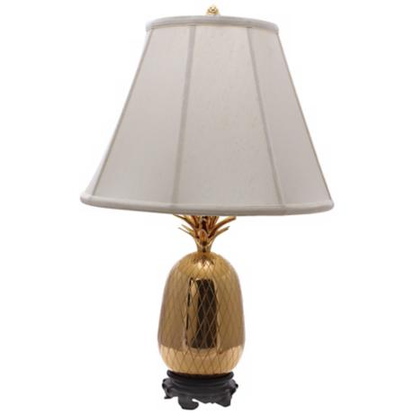 Large Brass Pineapple Table Lamp with White Shade