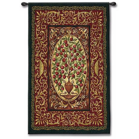 "Cranberry Urn 53"" High Wall Tapestry"