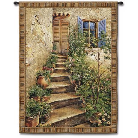 "Steps to the Villa Large  75"" High Wall Tapestry"