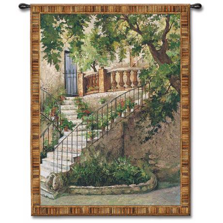 "Stairway to the Villa 71"" High Wall Tapestry"