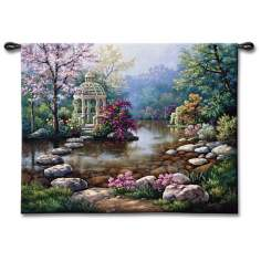 "Garden Gazeebo 53"" Wide Wall Tapestry"