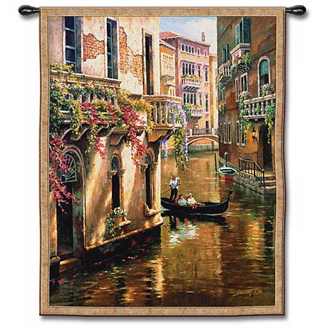 "Canal Conversation 48"" High Wall Tapestry"