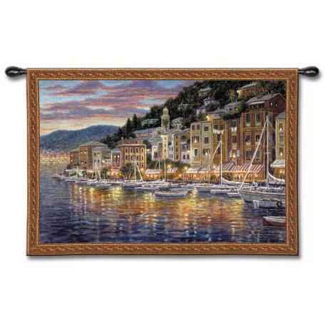 "Fishing Village Harbor 52"" Wide Wall Tapestry"