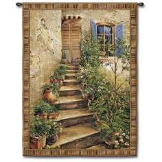 "Steps to the Villa Small  34"" High Wall Tapestry"