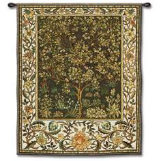 "Tree of Life Umber Small 53"" High Wall Tapestry"