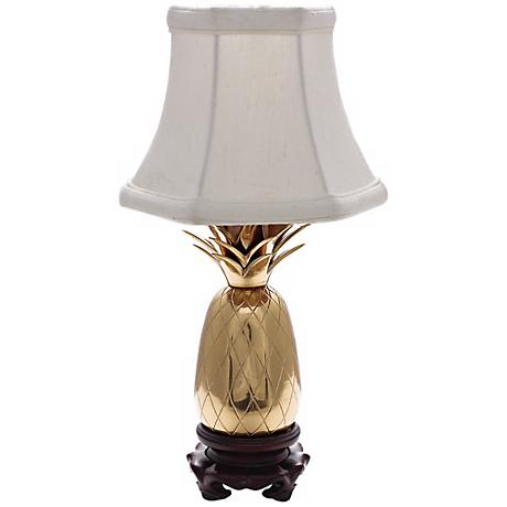 Polished Brass White Shade Mini Pineapple Accent Lamp