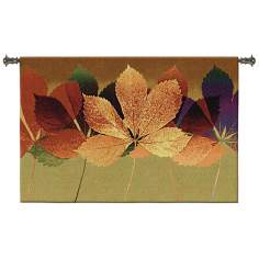 "Leaf Dance II Jade 53"" Wide Wall Hanging Tapestry"