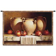 "Urns with Pomegranates 53"" Wide Wall Hanging Tapestry"