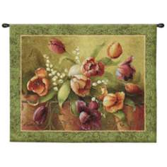 "Terrace Tulips 45"" Wide Wall Hanging Tapestry"
