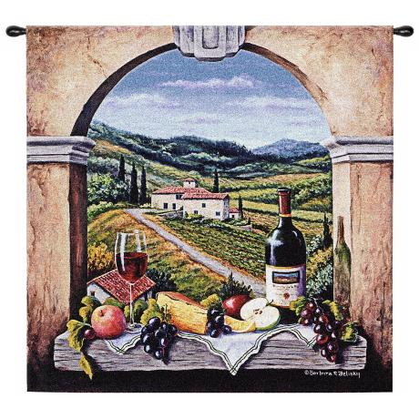 "Vineyard Road 53"" Square Wall Hanging Tapestry"