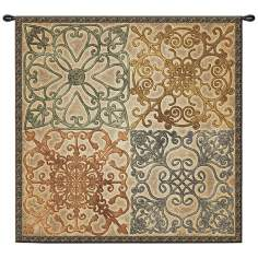 "Wrought Iron Elegance 44"" Square Wall Hanging Tapestry"