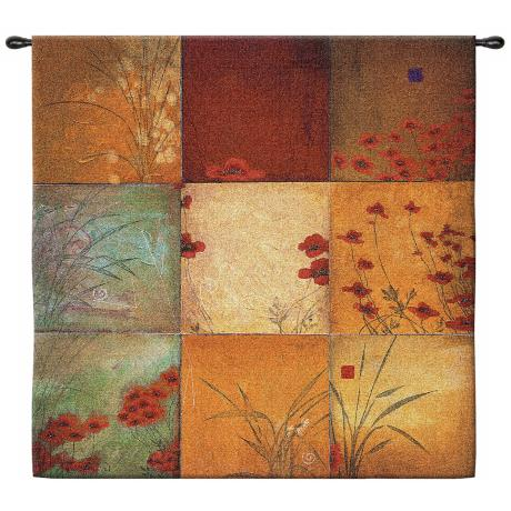 "Poppy Nine Patch Large 53"" Square Wall Hanging Tapestry"