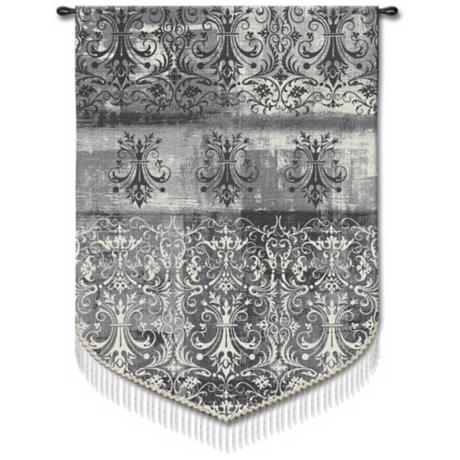 "Abstract Damask Pearl 63"" High Wall Hanging Tapestry"
