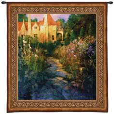 "Garden Walk at Sunset 55"" High Wall Hanging Tapestry"