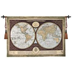 "Map of the World 53"" Wide Wall Hanging Tapestry"