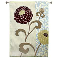 "Chrysanthemums III 52"" High Wall Hanging Tapestry"