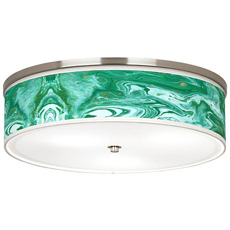 "Malachite Giclee Nickel 20 1/4"" Wide Ceiling Light"