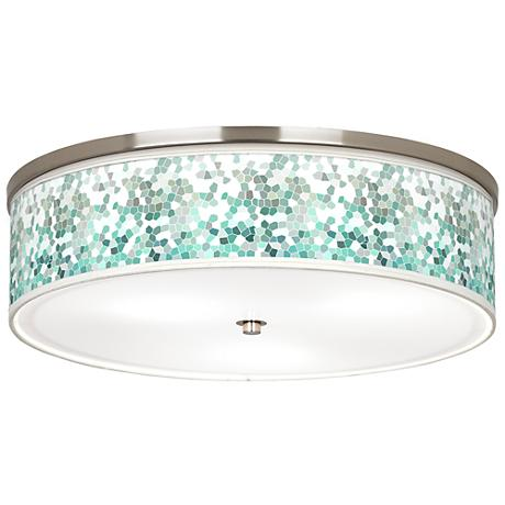 "Aqua Mosaic Giclee Nickel 20 1/4"" Wide Ceiling Light"