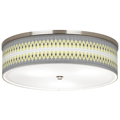 "Desert Geometric Giclee Nickel 20 1/4"" Wide Ceiling Light"